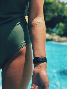 tattooed coordinates of a lost loved ones ashes- forearm Forearm tattoo – Top Fashion Tattoos Skull Tatto, Neck Tatto, Forearm Flower Tattoo, Small Forearm Tattoos, Cute Small Tattoos, Little Tattoos, Flower Tattoos, Lost Love Tattoo, Lost Loved Ones Tattoo