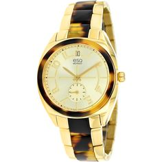 $231.29-overstock.com-Stately and elegant, this ESQ by Movado 'Origin' watch features a yellow gold ion-plated stainless steel body, making this watch a perfect addition to your style. With a Swiss quartz movement, this watch completes with a push/pull crown.