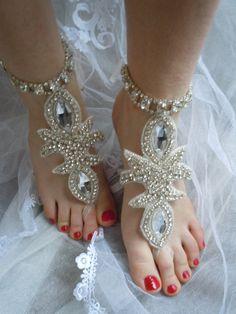 Rhinestones Anklet Wedding Barefoot  Jewelry by weddingtrend