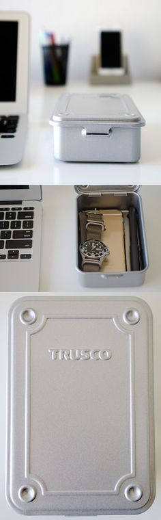 Industrial-chic design with this Japanese storage box.  Trusco T-150 steel storage box for home or office. Available in silver and blue at beta.modoliving.com.   Made in Japan.