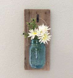 $20 - Rustic Mason Jar Wall Sconce - Wooden Wall Sconce - Mason Jar Decor - Mason Jar Wall vase - Hanging Mason Jar