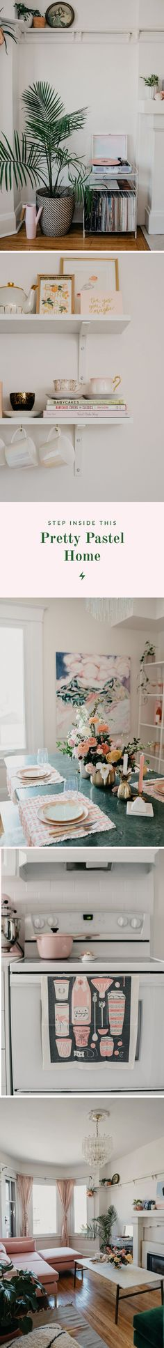 pastel home trends // pastel decor // pink home decor // pink couch // pink kitchen