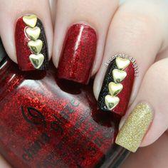 50 Quick Nail Art Ideas for Office Women - Nagel Design Heart Nail Art, Heart Nails, Heart Nail Designs, Nail Art Designs, Gorgeous Nails, Pretty Nails, Office Nails, Valentine Nail Art, Studded Nails
