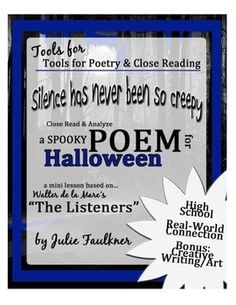 Halloween Lesson and Activity for High School English ELA - Poetry Close Reading Lesson: The Listeners