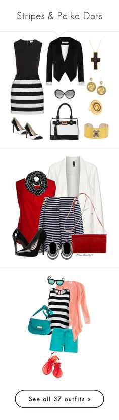 """Stripes & Polka Dots"" by speakman805 ❤ liked on Polyvore featuring skirts, mini skirts, short mini skirts, high-waisted skirts, print mini skirt, short skirts, high waisted fitted skirts, Alix, Topshop and Alice + Olivia"