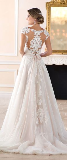 White wedding dress. Brides think of finding the perfect wedding, however for this they require the perfect bridal gown, with the bridesmaid's dresses enhancing the brides-to-be dress. Here are a number of ideas on wedding dresses. #weddingideas