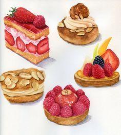 ORIGINAL Painting French Pastries Colorful por ForestSpiritArt, £40.00