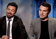 Rufus Sewell Dominic Cooper *rfsinterview Abrahm Lincoln: Vampire Hunter Interview *mygif(s) fredriksewell.tumblr.com