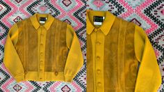 Vintage 1960's Mustard and Leather Button Up Long Sleeved Sweater/Jacket by McBriar Sportswear Men's Size Large by thiefislandvintage on Etsy