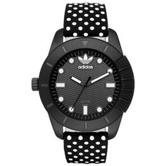 Adidas Black Originals Ahd69 Ladies Black Polka Dot Leather Three Hand... ($145) ❤ liked on Polyvore featuring jewelry, watches, black, adidas, kohl jewelry, black leather watches, black jet jewelry and black leather jewelry