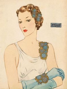 Miriam Haskell - Parures de Bijoux - Aquarelle Larry Austin