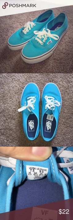 Electric blue vans sneakers Only lightly worn, great shape. Super fun electric blue color, vans lace up sneakers Vans Shoes Sneakers
