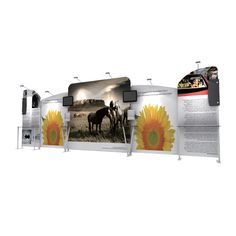 Portable trade show display wall. Modern design, beautiful tension fabric display stand. Unlimited configuration, like TV rack, spotlight, magazine rack, decoration panel etc. Custom size and graphics.