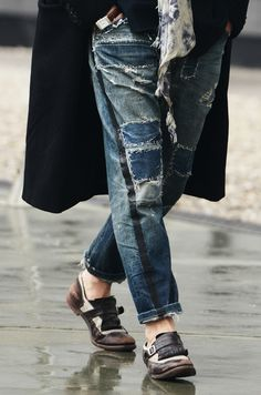 theoldwhitehouse:  freepeople:  Street Style from Tommy Ton: We love these patchwork jeans  the shoes…