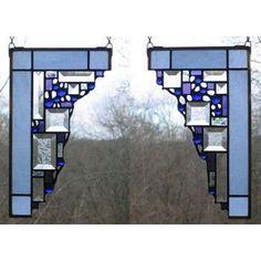 Edel Byrne Light Blue Small Geometric Corner Pair Stained Glass Panels, Artistic Artisan Designer Window Panels