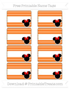 Free Pumpkin Orange Horizontal Striped  Minnie Mouse Name Tags