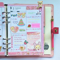 Day 3 of my #diyfish inserts on my large berry KikkiK planner #kikkik #planner #plannerlove #plannernerd #plannergoodies #kawaii #stickynotes #rilakkuma
