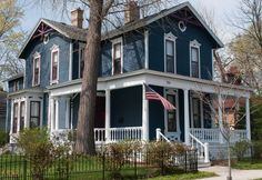 victorian house blue trim red - Google Search