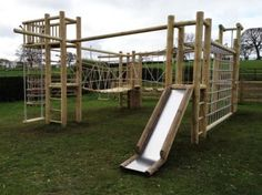 Four Tower Wooden Climbing Frame