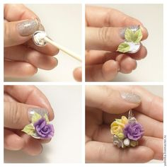 Сегодня я покажу, как делаю серьги с мини букетиком из цветов. Для примера возьму сережки из комплекта с розами и фрезией. Нам понадобятся следующие материалы и инструменты: - Самоотвердевающейся полимерная глина (Холодный фарфор) (например, Modena Clay, Modern Clay, Fleur и т.д.) - Латексный клей, ПВА, эпоксидный клей или суперклей.- любой крем с глицерином - Проволока- тычинки - Масляные краски…