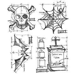 Tim Holtz - Halloween Blueprint Stamp Set