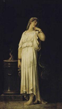 Una virgen vestal - Louis Hector Leroux (1829-1900), francés, Es un pintor de estilo académico dedicado a los temas clásicos, y, en forma ocasional, históricos y bíblicos.