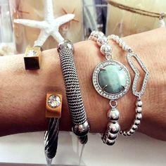 Set By Vila Veloni Silver Stone And Heart Bracelets