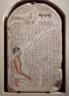 Stele of Apis bull, painted limestone from the Serapeum at Memphis. Egyptian civilisation, Third Intermediate Period, Dynasty XXI.