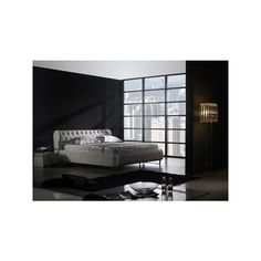 Downton Modern Leather Bed Frame via Polyvore featuring home, furniture, beds, modern home furniture, leather furniture, mod home furniture, mod furniture and modern leather bed