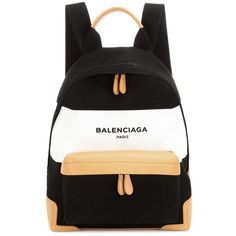 Balenciaga Navy Leather-trimmed Canvas Backpack In Eoir Llaec Eaturel Eoir Cute Mini Backpacks, Stylish Backpacks, Leather Backpacks, Rucksack Bag, Backpack Bags, Black Backpack, Luxury Purses, Luxury Bags, Mochila Kate Spade