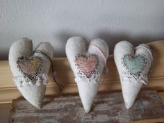 Shabby chic hearts fabric handmade ornaments unique home decor OOAK. $12.50, via Etsy.