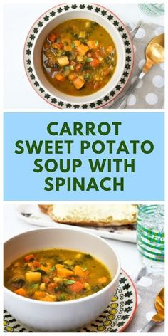 A simple root vegetable and spinach soup with sweetness from carrot and sweet potato and a warmth from spices. A simple root vegetable and spinach soup with sweetness from carrot and sweet potato and a warmth from spices. Cooker Recipes, Soup Recipes, Vegan Recipes, Lunch Recipes, Vegan Food, Stuffed Pepper Soup, Stuffed Peppers, Fast Food Diet, Dairy Free Soup