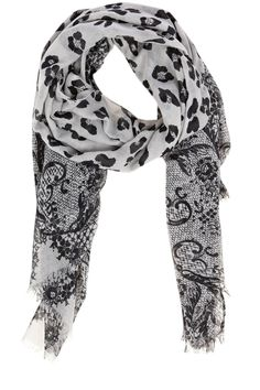 Lace and animal print scarf