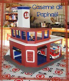 caserne pompiers en carton legere inspiration playmobil. Black Bedroom Furniture Sets. Home Design Ideas
