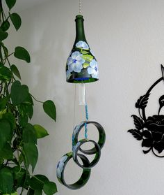 Glass Wind Chime, Recycled Green Magnum Champagne Bottle Wind Chime, Lt.  Blue Flowers · Chime LtWind ChimeArt PatioPatio DecorYard ...