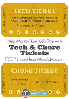 Tech & Chore Tickets Free Printable- Just in time for summer! Help monitor your kid's time with these tech & chore tickets.