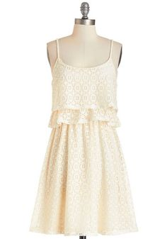 Breezy to Love Dress - Cream, Solid, Crochet, Tiered, Casual, Sundress, Vintage Inspired, 70s, A-line, Summer, Knit, Good, Scoop, Short, Spaghetti Straps