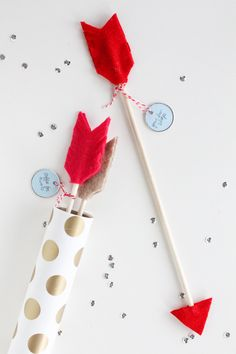 Skip the date aspect of this DiY project.  My son would LOVE these arrows and, being made of felt and dowels, they'd be cheap and easy!