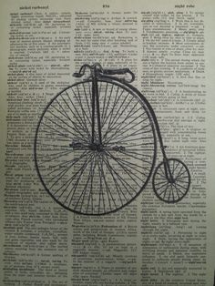 Penny Farthing Bicycle Vintage Dictionary Page by ThePaperSnail, $6.00