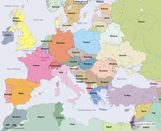 Europe Main Map at the Beginning of the Year 2000