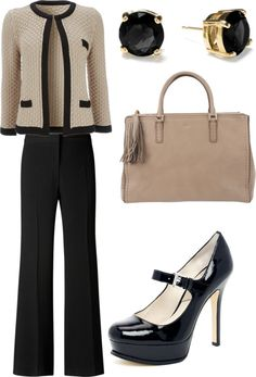 """Interview outfit"" by nakhulo-khaimia ❤ liked on Polyvore - the only thing I don't like is the height of the heels - about half that is good for me and no platform."