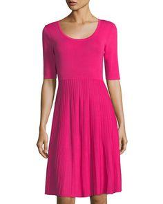 CARMEN MARC VALVO HALF-SLEEVE SCOOP-NECK DRESS. #carmenmarcvalvo #cloth #