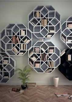 Fantastic bookshelf: The MiniZelli is said to remind designer Younes Duret of the mosaics from his Moroccan childhood. Made from Simopor, a lightweight PVC free material, the shelves are constructed from eight modules which lock together without any hardware. Photo: Bookshelf, Thames & Hudson, 2012 / SF