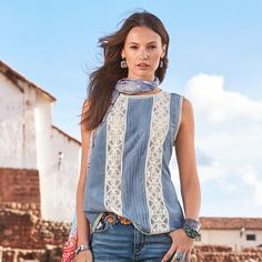 "MIA BELLA TANK -- This must-have cotton and silk tank flatters with lace insets and trim. Keyhole back fastens with a clear button. Hand wash. Imported. Sizes XS (2), S (4 to 6), M (8 to 10), L (12 to 14), XL (16). Approx. 24-3/4""L."