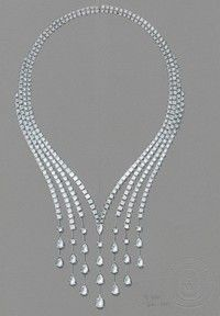 cascading raindrop crystal jeweled necklace Smycken Tillbehör 7068fa2cbae71