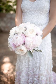 Peonies, Garden Roses, Dusty Miller | Photo by Tim Ivey | Flowers by Tami McAllister
