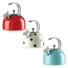 Add eye-catching functionality to your kitchen with the 2.5-qt. All in Good Taste Tea Kettle by kate spade new york. Compatible with all cooktops, it features a stainless steel wire handle and lid, plus a fun WHISTLE WHILE YOU WORK message on the spout.
