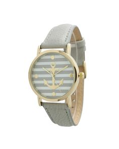 Gray Striped Anchor Print Watch
