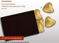 ¡Corazones de chocolate deliciosos, coloridos y entregados en una caja de madera!