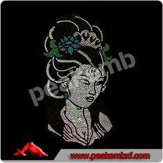 Traditional beauty Girl iron on rhinestone transfers customised